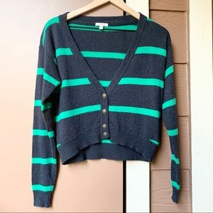 NWOT Forever 21 Striped Cropped Cardigan Sweater